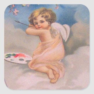 Cherub Angel Cherry Tree Painting Pallet Christian Square Sticker