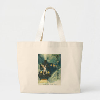 Cherub Angel Four Leaf Clover Train Large Tote Bag