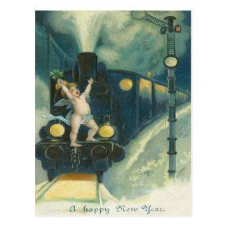 Cherub Angel Four Leaf Clover Train Postcard