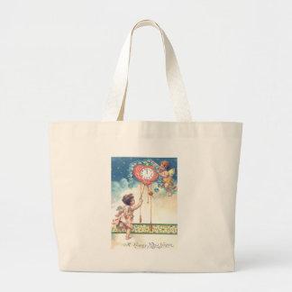 Cherub Angel Heart Clock Midnight Heaven Jumbo Tote Bag