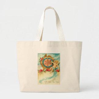 Cherub Angel Rose Clock New Year Jumbo Tote Bag
