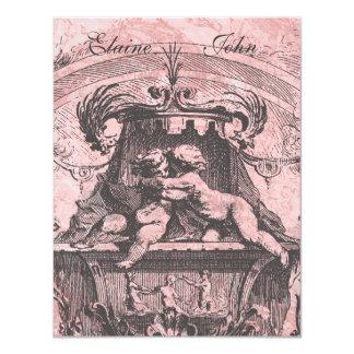 """Cherub Angels French Architecture  Invitation 4.25"""" X 5.5"""" Invitation Card"""