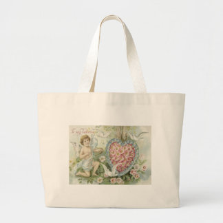 Cherub Cupid Bow Arrow Heart Dove Flower Jumbo Tote Bag