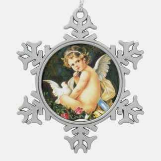 Cherub Cupid Dove Rose Heart Pewter Snowflake Decoration