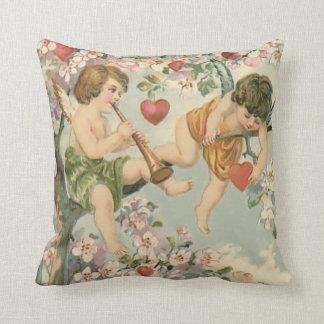 Cherub Cupid Flute Magnolia Tree Heart Cushion