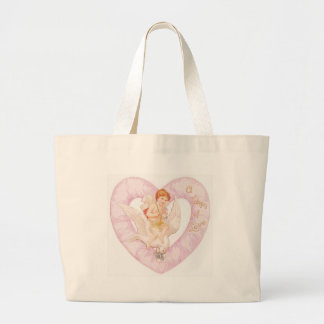 cherub heart pink large tote bag
