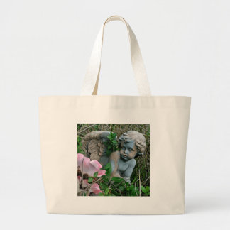 Cherub in the Grass Large Tote Bag