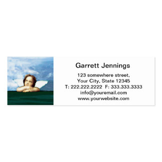 Cherub laying on the grass thinking business card template