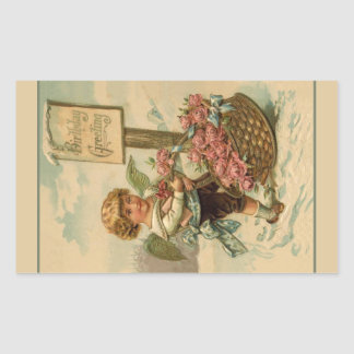 Cherub with Roses Rectangular Sticker
