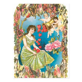 Cherubs and Hearts Postcard