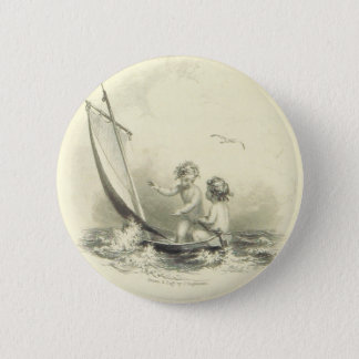 Cherubs - Angels on the Water Engraving 6 Cm Round Badge