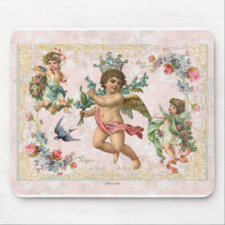 Cherubs Angels Victorian Roses Mouse Pad Pink