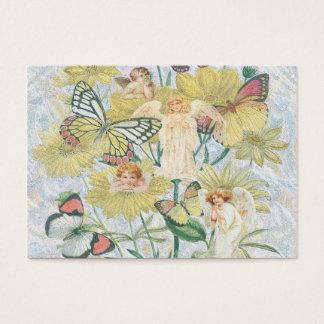 Cherubs, Butterflies and Flowers in Yellow Business Card