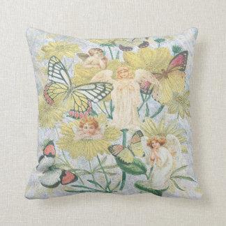 Cherubs, Butterflies and Flowers in Yellow Cushion
