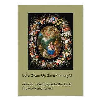 Cherubs Offer Gifts to Christ Child 13 Cm X 18 Cm Invitation Card