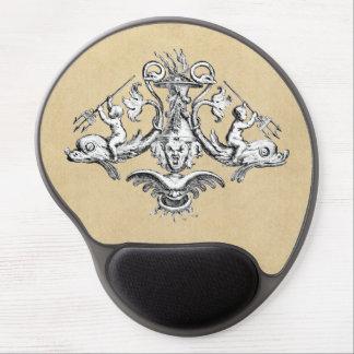 Cherubs Riding Dolphins Marine Emblem Gel Mouse Pad