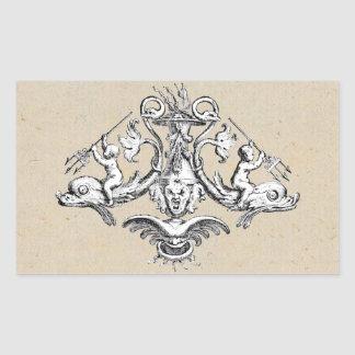 Cherubs Riding Dolphins Rectangular Sticker