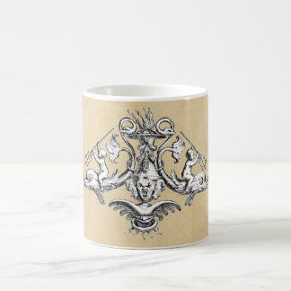 Cherubs Riding Dolphins with Tridents Basic White Mug