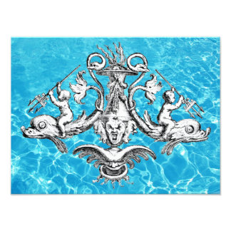 Cherubs Riding Dolphins with Tridents Photo Print