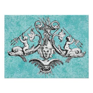 Cherubs Riding Dolphins with Tridents Poster