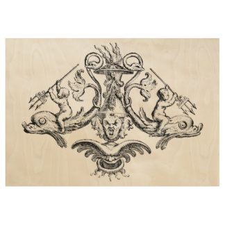 Cherubs Riding Dolphins with Tridents Wood Poster