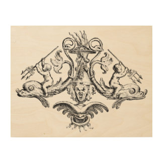 Cherubs Riding Dolphins with Tridents Wood Wall Art