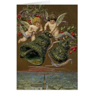 Cherubs Ringing in Christmas 1906 Card