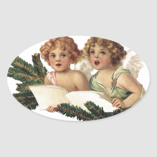 Cherubs Singing Carols Oval Sticker