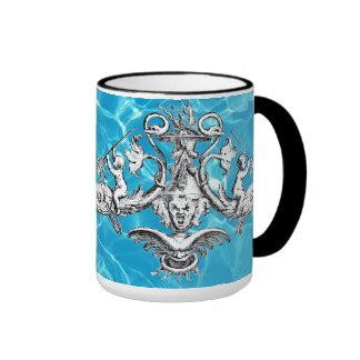 Cherubs with Tridents Naval Emblem Ringer Mug