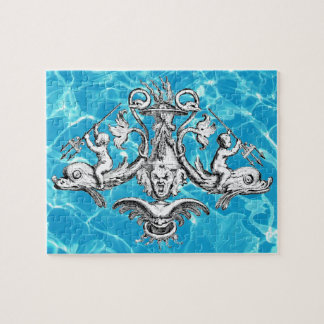 Cherubs with Tridents on Dolphins Puzzle
