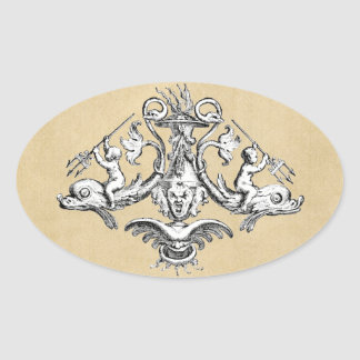 Cherubs with Tridents on Dolphins Oval Stickers