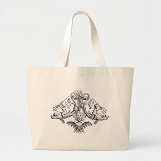Cherubs with Tridents on Dolphins Jumbo Tote Bag