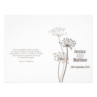 Chervil graphic brown flower Wedding Programme 21.5 Cm X 28 Cm Flyer