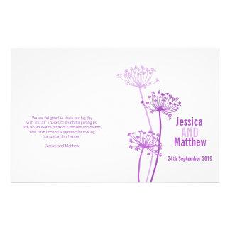Chervil graphic purple flower Wedding Programme 14 Cm X 21.5 Cm Flyer