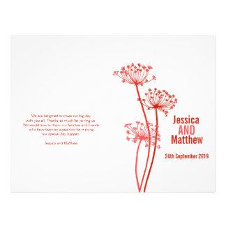 Chervil graphic red flower Wedding Programme 21.5 Cm X 28 Cm Flyer