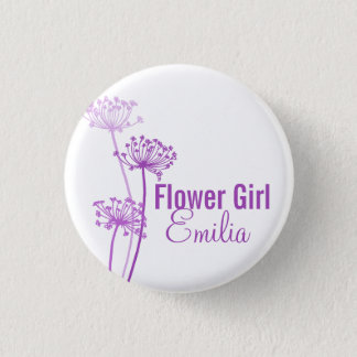 Chervil modern flower purple wedding pin / button