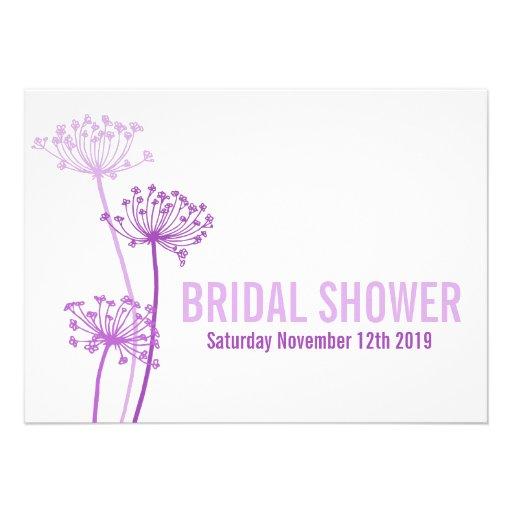 Chervil modern purple bridal shower invitation