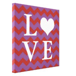 Chervon pattern red heart LOVE canvas wall art Stretched Canvas Print