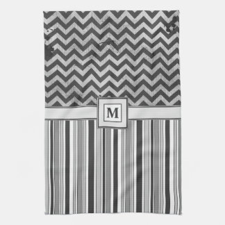 Chervron Zig Zags and Masculine Stripes in Greys Tea Towel