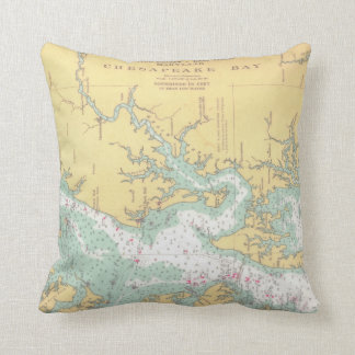 Chesapeake Bay Natuical Chart Cushion