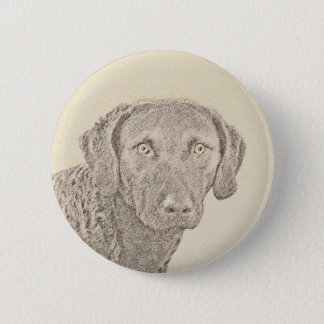Chesapeake Bay Retriever Painting Original Dog Art 6 Cm Round Badge