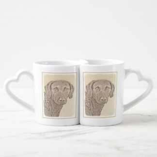 Chesapeake Bay Retriever Painting Original Dog Art Coffee Mug Set