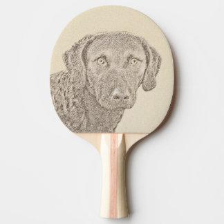 Chesapeake Bay Retriever Painting Original Dog Art Ping Pong Paddle