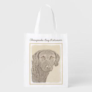 Chesapeake Bay Retriever Painting Original Dog Art Reusable Grocery Bag