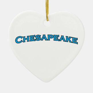 Chesapeake Virginia Arched Text Logo Ceramic Heart Decoration