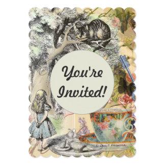Cheshire Cat Alice in Wonderland 13 Cm X 18 Cm Invitation Card
