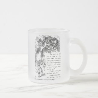 """Cheshire cat, """"Alice in Wonderland"""" Frosted Glass Coffee Mug"""