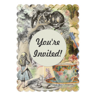 Cheshire Cat Alice in Wonderland Personalized Invitations
