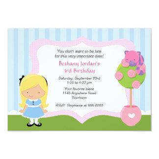 Cheshire Cat and Alice Wonderland Birthday 13 Cm X 18 Cm Invitation Card