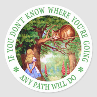 CHESHIRE CAT - ANY PATH WILL DO CLASSIC ROUND STICKER